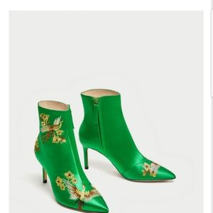 EMBROIDERED SATIN HIGH HEEL ANKLE BOOTIES